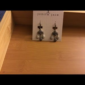 Judith Jack silver and marcasite pierced earrings